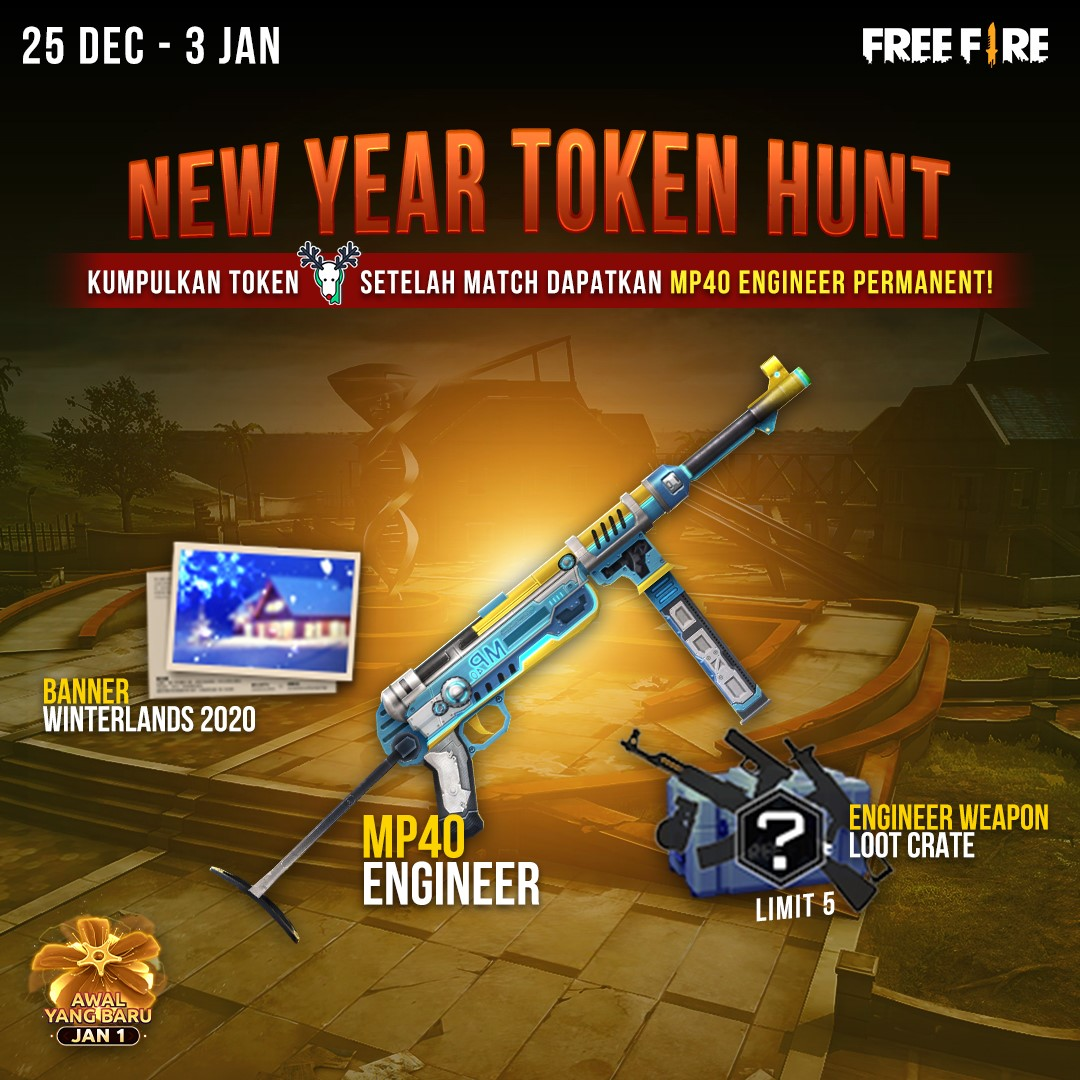 FREE FIRE SHARES NEW SKINS ON THE NEW YEAR TOKEN HUNT EVENT!